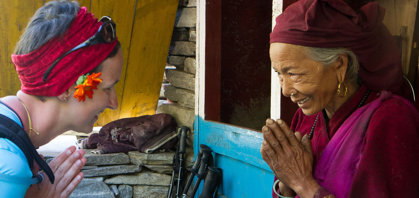 Woman and guide in Nepal